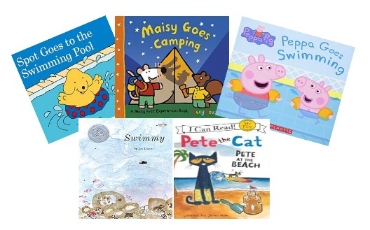 「Spot Goes to the Swimming Pool」「Maisy Goes Camping 」「 Peppa Goes Swimming 」「 Swimmy 」「 Pete at the Beach」の絵本の表紙の写真