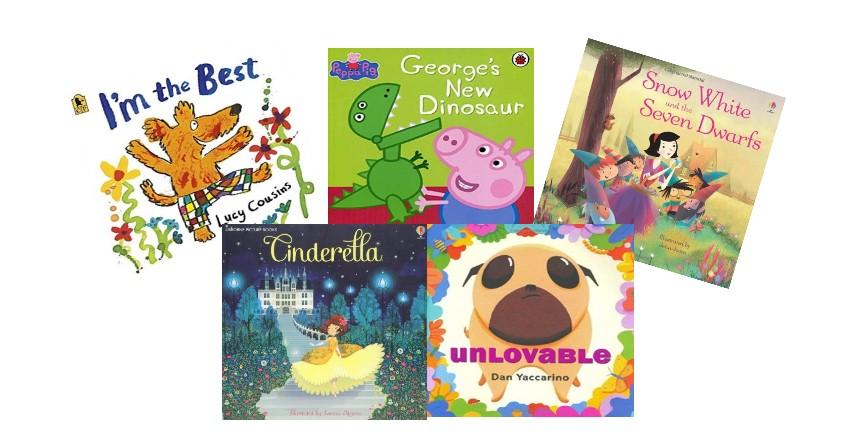4歳におすすめな英語の絵本 「I'm the best 」「 George's New Dinosaur 」「Snow White and the Seven Dwarfs 」「 Cinderella 」「 Unlovable」の絵本の表紙