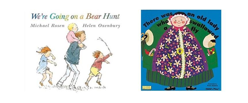 英語の絵本「We're Going on a Bear Hunt 」と「 There Was an Old Lady Who Swallowed a Fly」の表紙