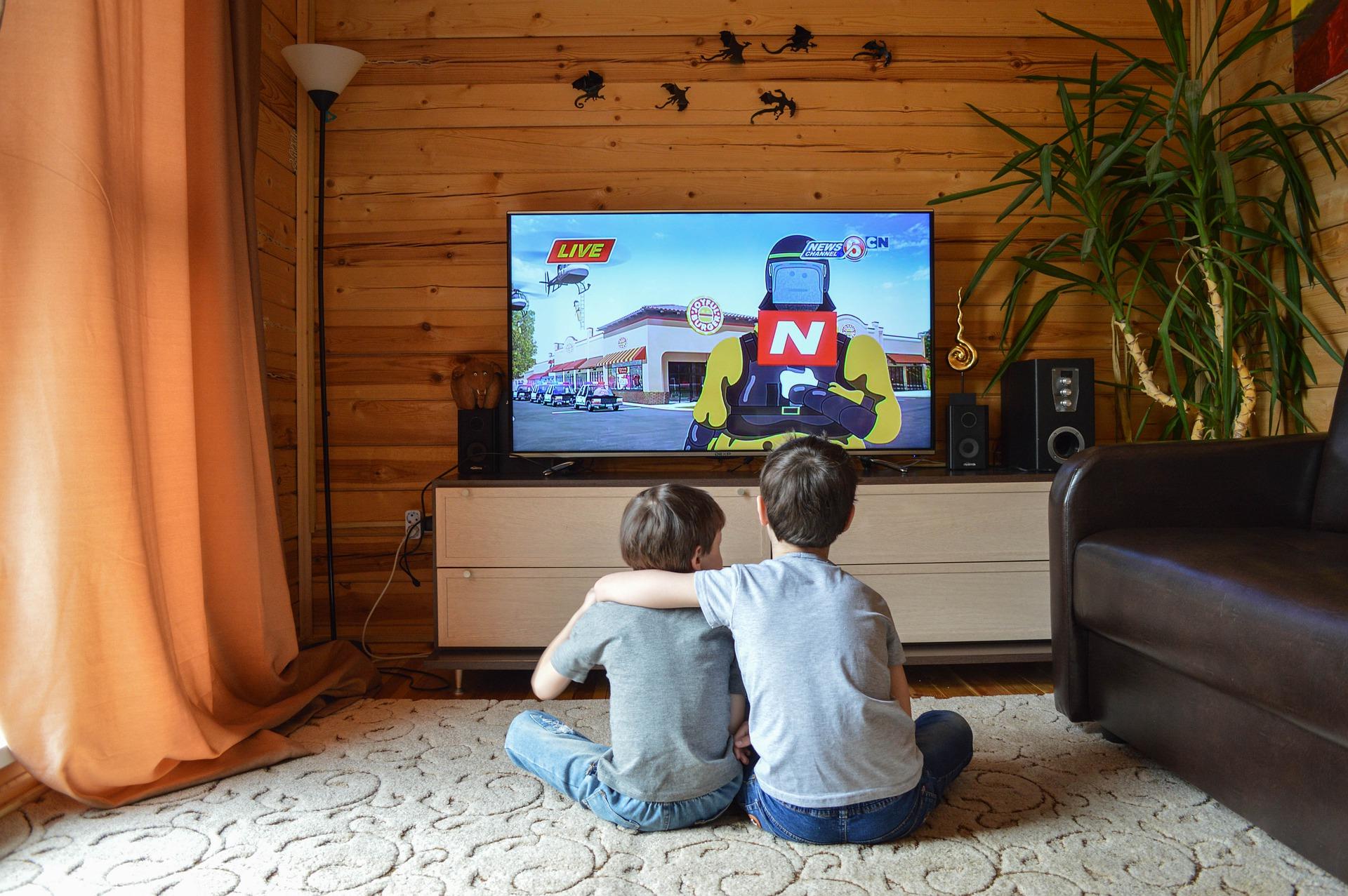 家でお兄ちゃんが弟に肩を回しながらテレビで映画を観ている様子