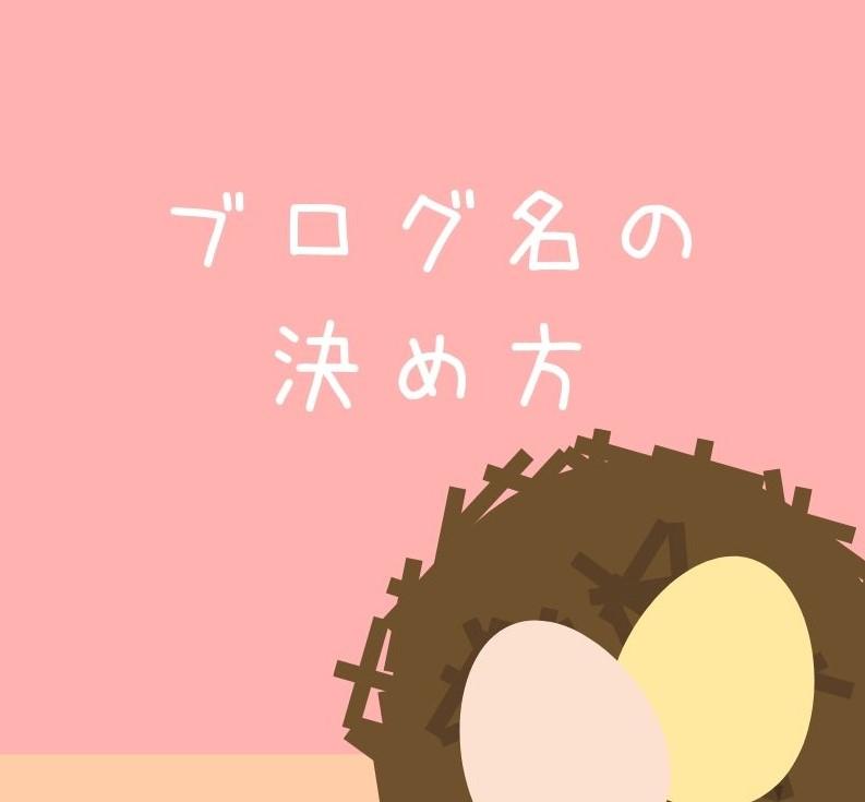 鳥の巣の中に卵が2つある。「ブログ名の決め方」と書かれている