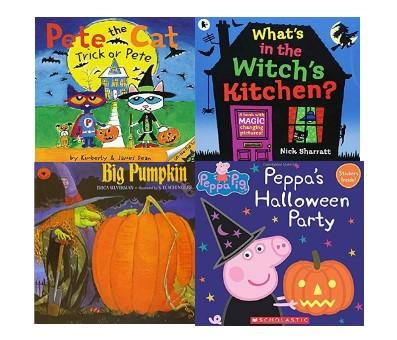 「 Pete the cat Trick or Pete 」と「 What's in the Witch's Kitchen?」と「 Big Pumpkin」と「 Peppa's Halloween Party」の絵本の表紙