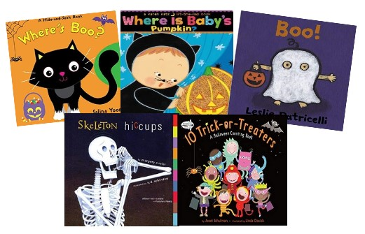 「Where's Boo? 」「Where Is Baby's Pumpkin? 」「 Boo 」「 Skeleton Hiccups 」「10 Trick-or-Treaters 」の絵本が本の表紙