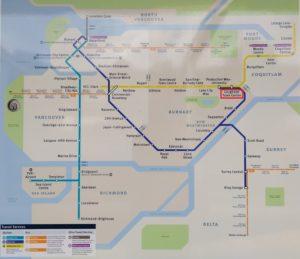 スカイトレインマップの写真に「Lougheed Town Centre」駅を赤く印を付けた写真