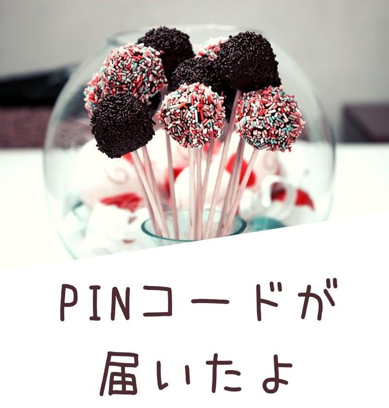 スティックにささった沢山の可愛いチョコの写真と「PINコードが届いたよ」の文