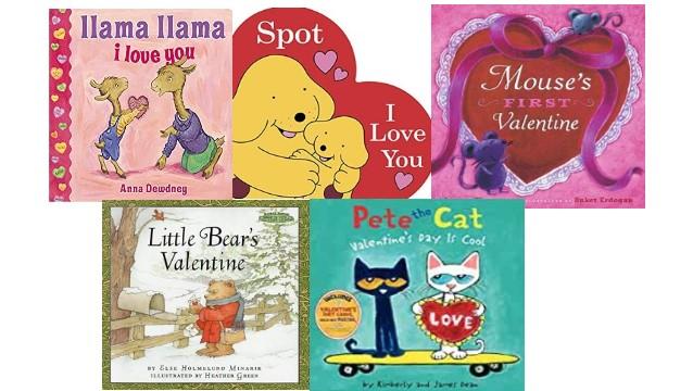 バレンタインにぴったりな英語の絵本「 Llama Llama I Love You 」「 I Love You, Spot 」「 Mouse's First Valentine 」「 Little Bear's Valentine 」「 Pete the Cat: Valentine's Day Is Cool」の絵本の表紙