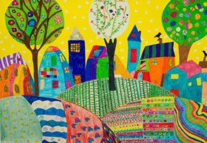 子供が描いたカラフルなビルや木々や道や丘の絵