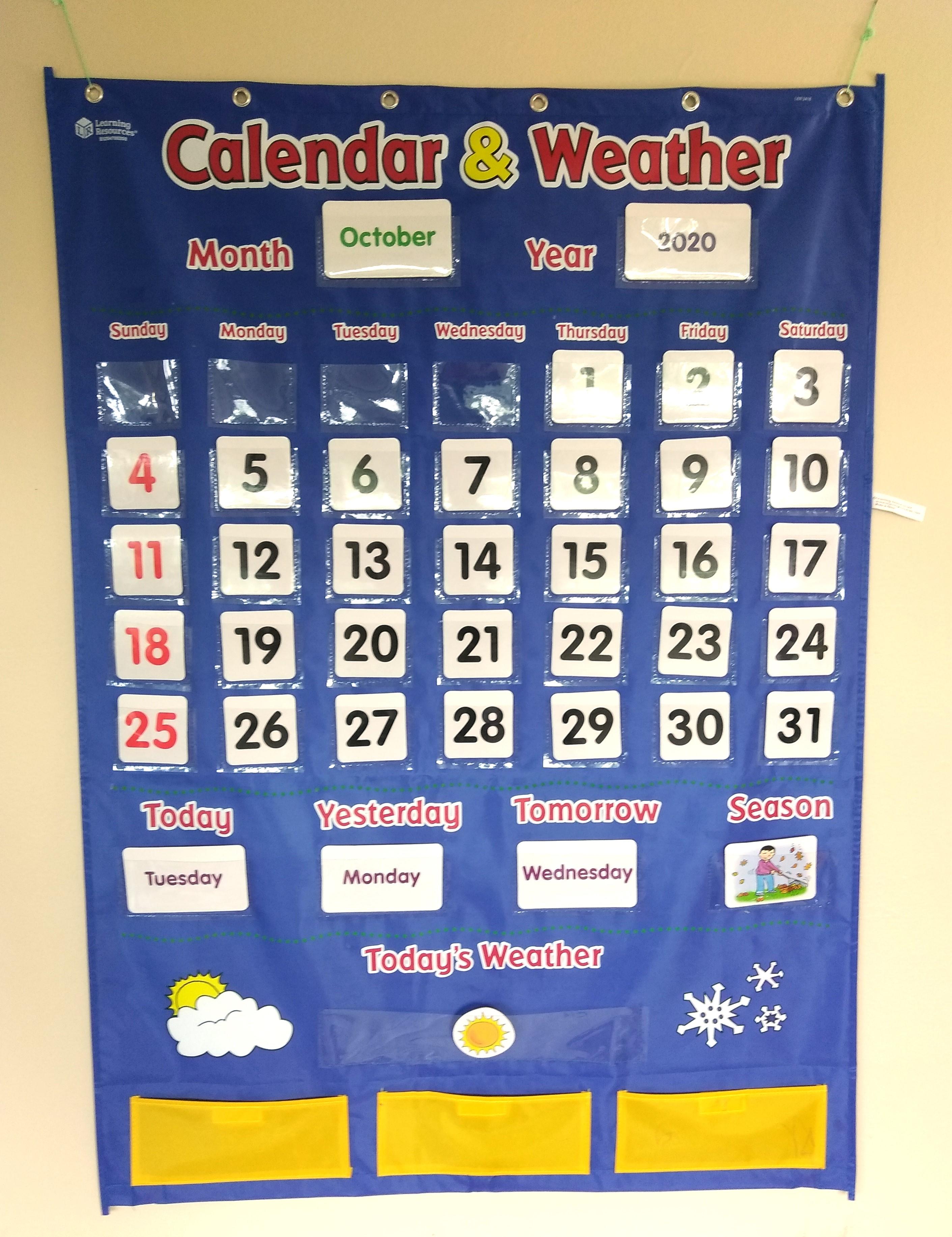 学習玩具の英語のカレンダー