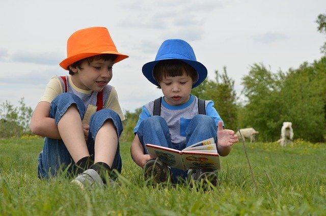 2人の男の子が草原で座って本を読んでいる様子
