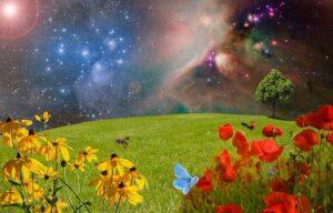背景が宇宙で手前に芝生や絵が描かれている幻想的な絵